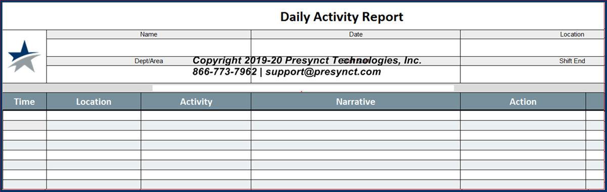 Presynct Incident Report (IR) Template